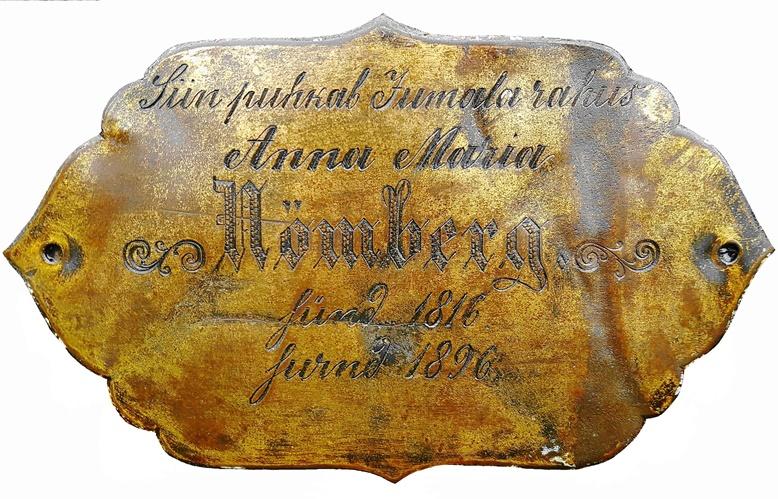 Aegna kalmistule tagasitee leidnud Anna Maria Nömbergi nimesilt