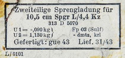 Aegnalt leitud 105 mm mürsu markeering
